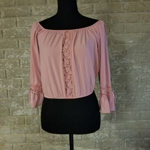 Very pretty pink with lace crop top
